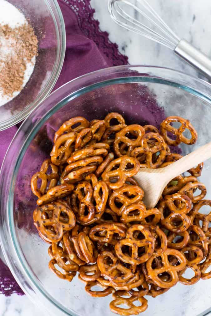 Candied pretzels - toss them in butter and then chocolate sugar